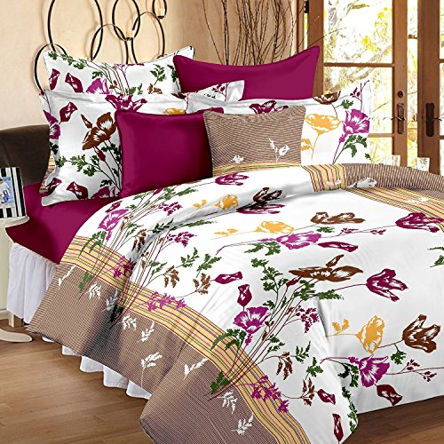 Hi-Life Premium Ahmedabad Cotton Floral Double Bedsheet with 2 Pillow Covers – Multicolour
