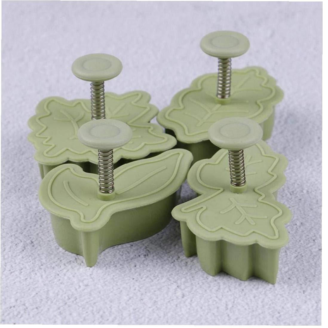 Forma 4pcs Set de cortadores de la galleta Moldes hoja de pl/ástico molde de la hornada de la galleta del cortador de pasteler/ía Fondant decoraci/ón de la galleta del molde Herramientas de la cocina