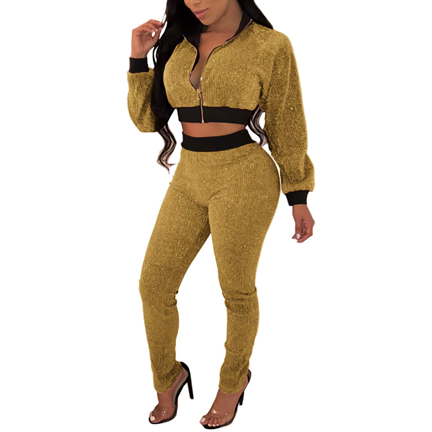 Bodycon Club Outfits Sequins Crop Top Zipper Jackets Long Pants Sweatsuit Gold XL by Sherro