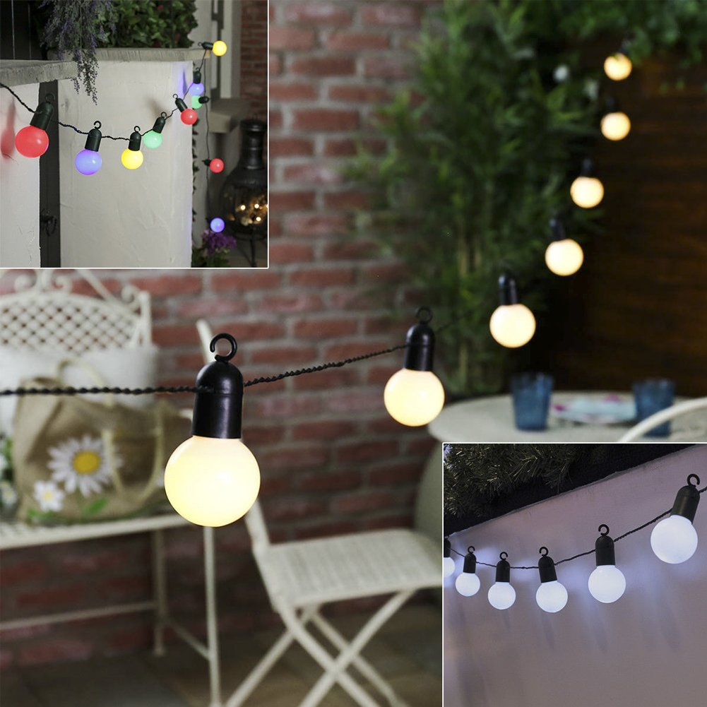 10 LED String Lights Outdoor Indoor Garden Lights,Decorative Lamps for Garden,Patio, Yard, Home, Chrismas Tree, Party,Decoration Lamps with US Plug EU Plug(Warm White,Warm White)