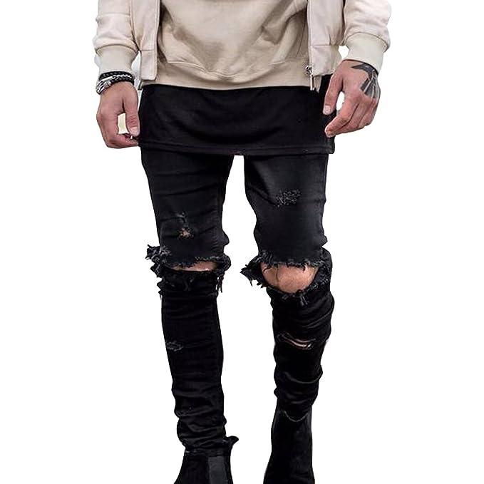 Yying Pantalones Vaqueros Hombre Pantalone Rasgados Jeans de ...