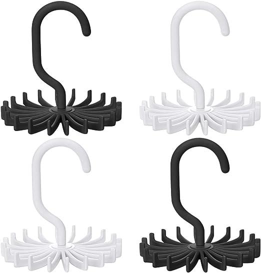 Gizhome 8 Pack 360 Degree Rotating Scarf Hanger Adjustable Twirl Plastic Tie Rack Tie Belt Multipurpose Organizer White, 4.4 Hook Ties Scarf for Closet Storage