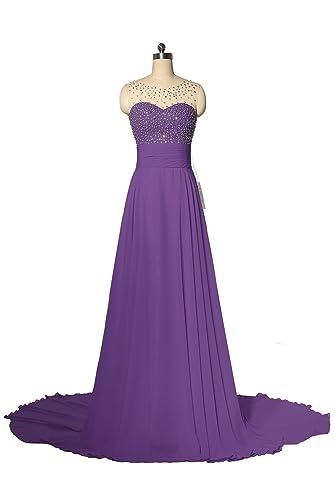 R&J Womwen's Floor Length Sweetheart Beaded Long Chiffon Prom Dress