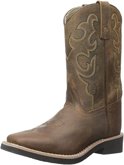 Smoky Mountain Kids Pueblo Western Cowboy Boots Stitch Leather Square Toe Brown