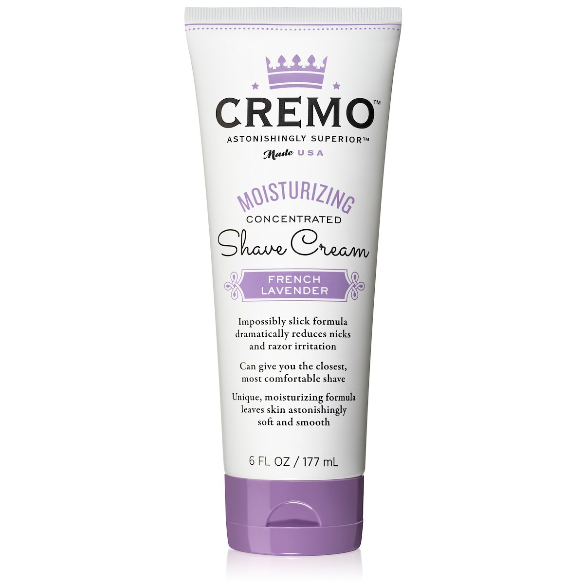 Cremo French Lavender Moisturizing Shave Cream, Astonishingly Superior Shaving Cream For Women, Fights Nicks, Cuts And Razor Burn, 6 Ounces