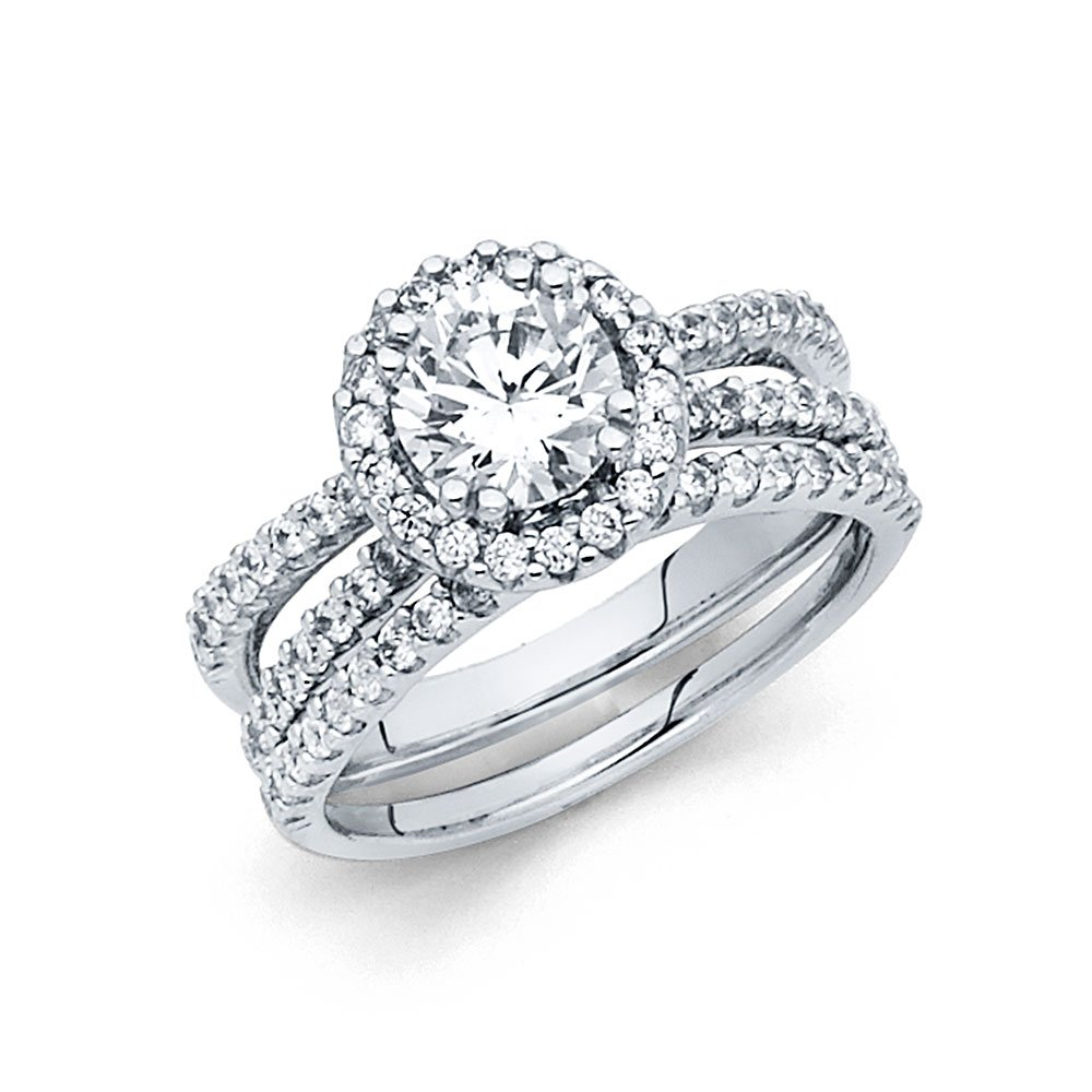 14K Solid White Gold 1.25 cttw Polished Halo Cubic Zirconia Engagement Wedding Ring, Size 7.5