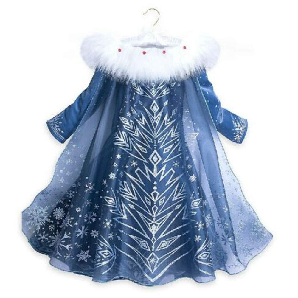 Girls Fancy Dress Snow Queen Princess Elsa Costume Cosplay Dress Halloween Christamas Outfit