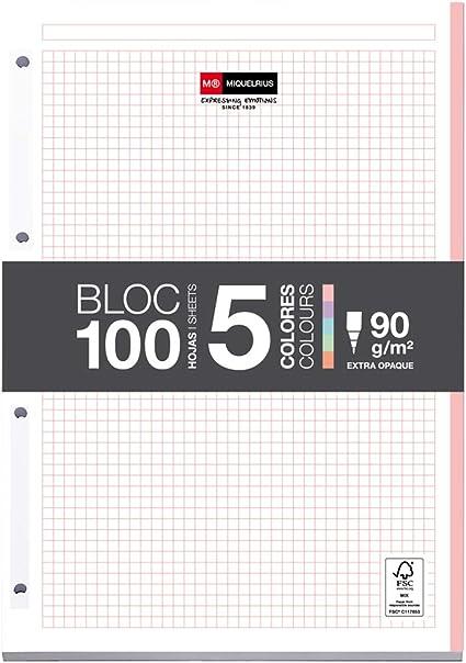 MIQUELRIUS - Bloc Recambio Hojas encoladas - 5 franjas de colores pastel, 100 Hojas cuadriculadas de 5mm, Tamaño A4, Papel 90 g, Con 4 Taladros: Amazon.es: Oficina y papelería