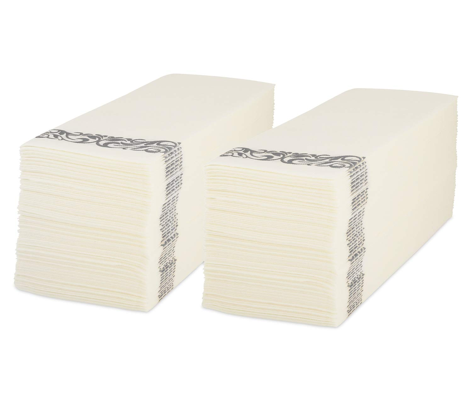 Decorative Disposable Linen Feel Paper Hand Towels | Luxury Dinner, Kitchen, Bathroom & Guest Room Napkins | Ultra-Soft & Absorbent Party, Wedding & Special Event Guest towels | White & Silver | 100ct