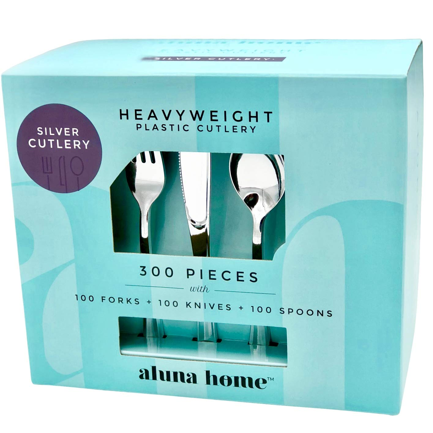 ALUNA HOME | Premium 300 Piece Silver Plastic Cutlery Set - Heavyweight Full Size Disposable Silverware - Elegant BPA-Free Flatware - Includes 100 Forks, 100 Knives and 100 Spoons
