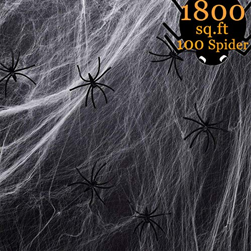 Halloween Spider Web Pics (MOLYHUA 1800sqft Fake Spider Web Halloween Decorations for Indoor and Outdoor - 100 Extra)