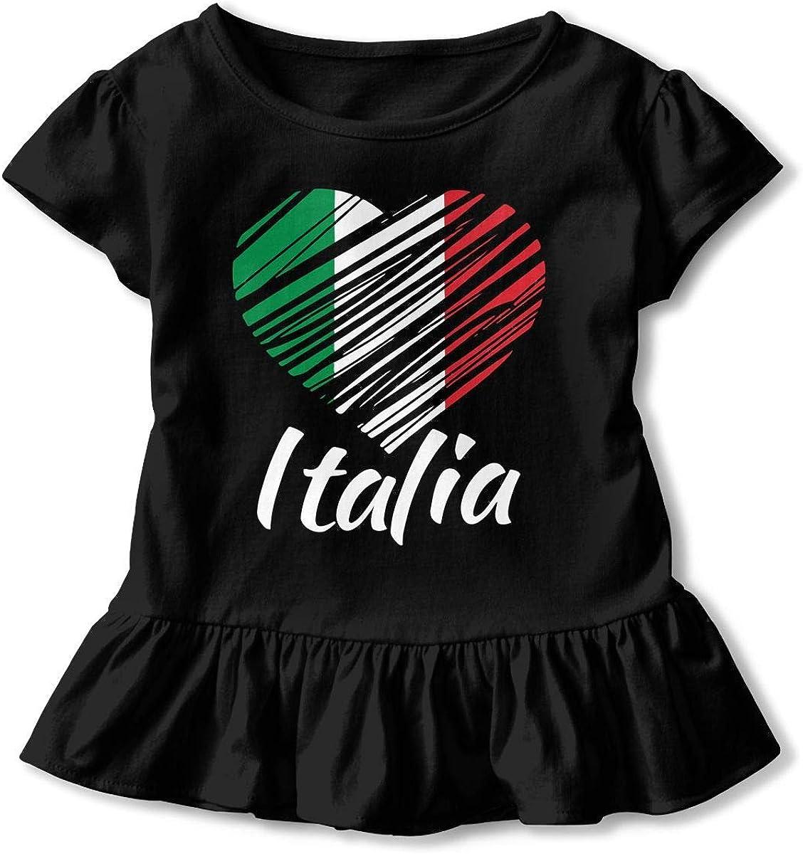 YLJIA Italian Heart T Shirts Kids Girls Short Sleeve Ruffles Shirt Tee Jersey for 2-6T