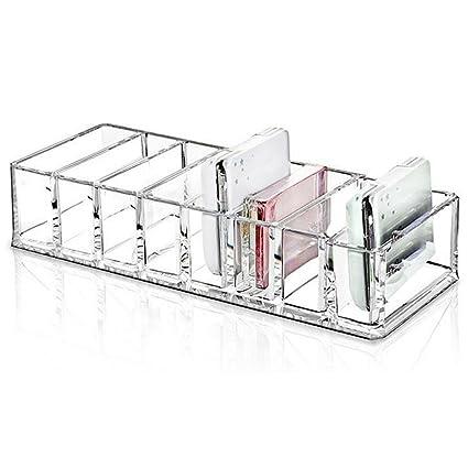Angker – Soporte compacto acrílico, organizador de maquillaje diseñado, 8 ranuras acrílico caja de