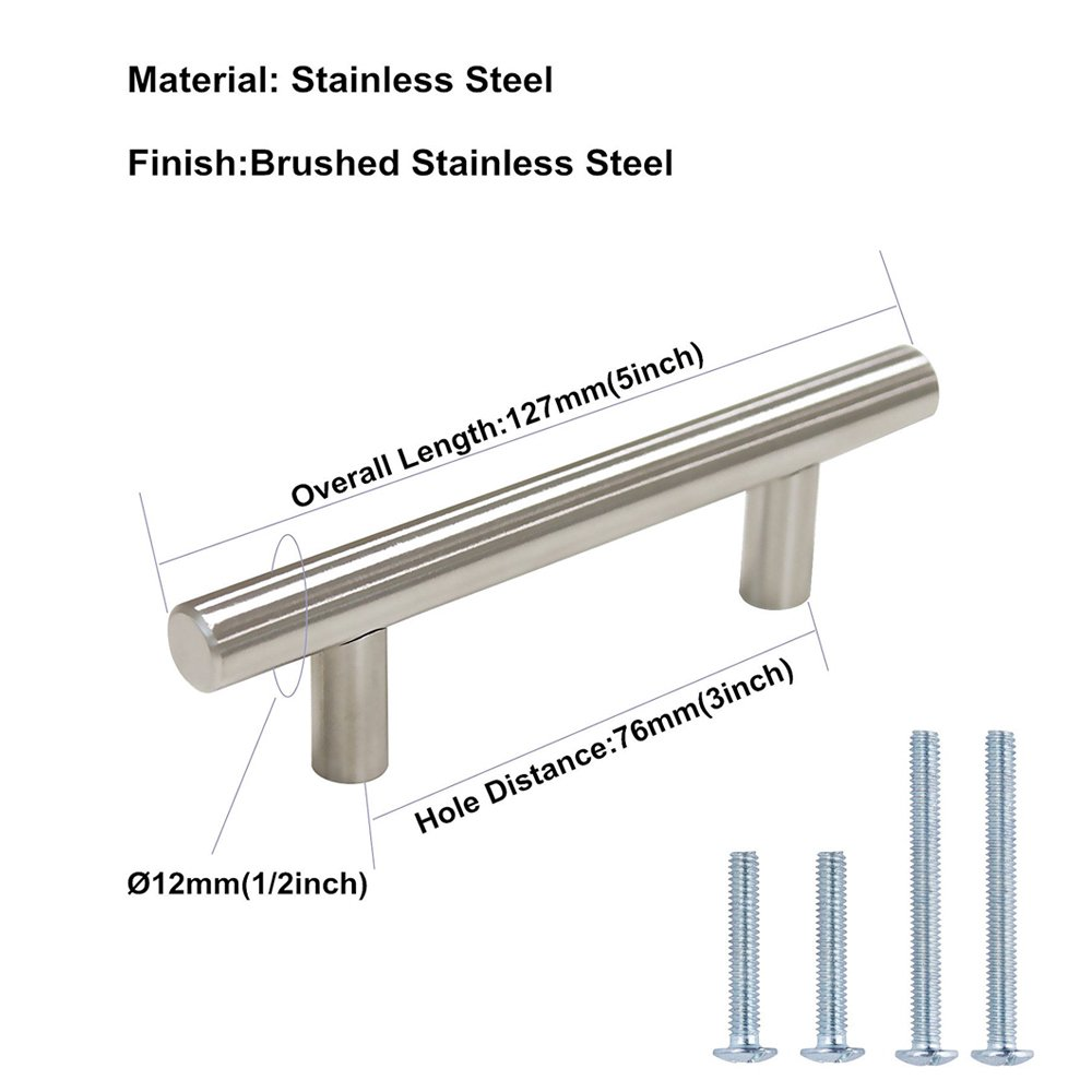 HD201SN Stainless Steel Drawer Pulls Kitchen Cabinet Handles Cupboard Handles 10 Pack 10 Pack Cabinet Handles Brushed Nickel Round Bar Cabinet Pulls 5in Hole Center homdiy