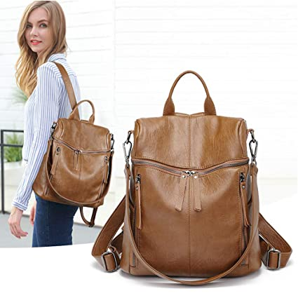 0a175cd906ed Genuine Leather Backpack for Women/Girls Schoolbag Casual Daypack ...