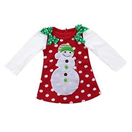 8a98b8d28ed4 Buy Rrimin Christmas Newborn Baby Girls Christmas Snowman Bowknot Dress  Long Sleeve Dress(130cm) (2-3Y) Online at Low Prices in India - Amazon.in