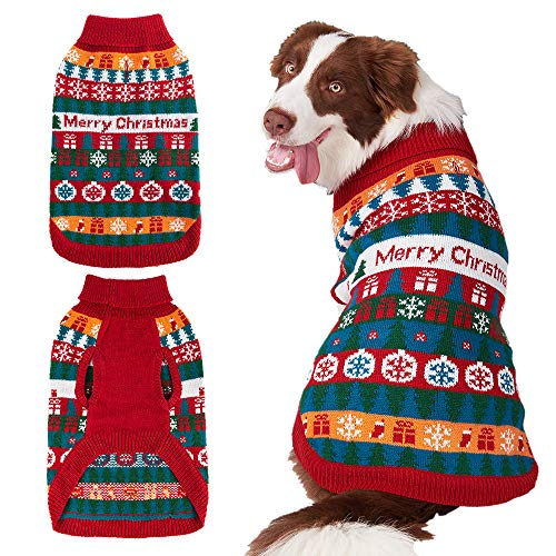 Mihachi Christmas Dog Sweater – Winter Clothes with Colorful Snowflake Patterns Soft Knit Keep Warm