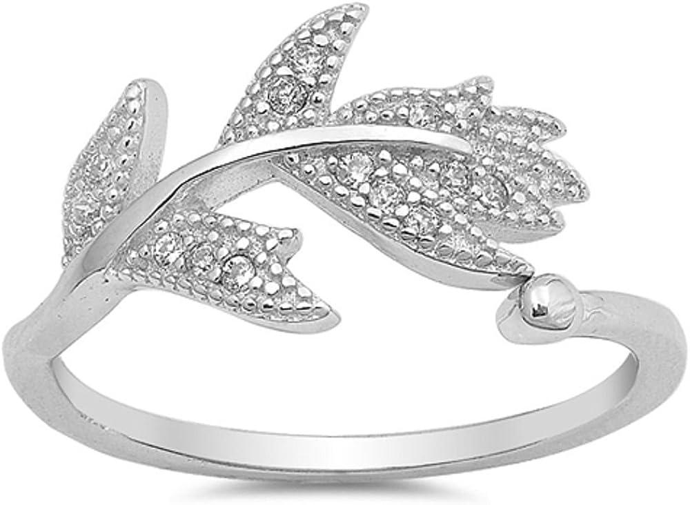 CloseoutWarehouse Cubic Zirconia Swirl Designer Ring Sterling Silver