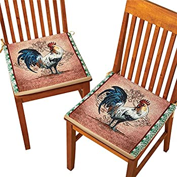 Superior Country Rooster 2 Piece Chair Seat Cushion Set With Slip Resistant Backing  And Ties