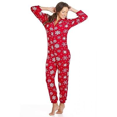 f9fca0a783c6f Combinaison pyjama à capuche - motif flocon de neige - femme - rouge - taille  36 à 50