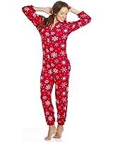 Camille Womens Ladies Luxury Snowflake Red Hooded All In One Onesie Pyjama Sizes 4-18
