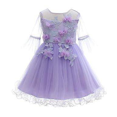 942f92dbd95 Castle Fairy Flower Girls Short Sleeve Dresses Spring Lilac Cute Pageant  Tutu 4 Purple
