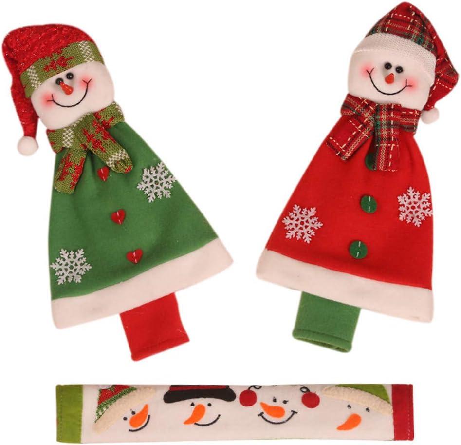 Guo Nuoen 3Pcs Decor Christmas Microwave Oven Linen Fridge Handle Case Cover Snowman Toy Holder Cabinet Home Supplies