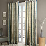 Cheap MICHELE HOME FASHION 25 Sizes Available (Set of 1 panel) (100″ W x 108″ L) Pleated Top Contemporary Print Multi Color Minimalist Striola Blackout Lining Window Treatment Draperies & Curtains Panels
