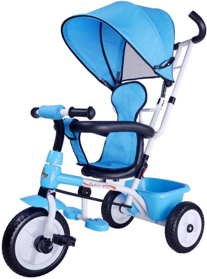 4人に1人の子供用三輪車1〜6年360°旋回式サドルブレーキ付き後輪子供用三輪車折りたたみ式サンキャノピー調節可能なハンドルバーチャイルドトライク最大重量60 Kg,Blue