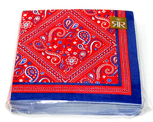 Paisley Bandana Napkins | Red White & Blue | 40 Count 3 Ply | 13