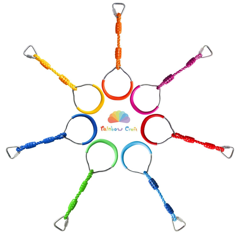 Rainbow Craft Swing Bar Rings - Colorful Backyard Outdoor Gymnastic Ring, Ninja Ring, Monkey Ring, Climbing Ring and Obstacle Ring- 7 pcs Pack