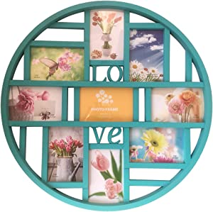 Mkun 4x6 Wall Photo Frame - Round Circular Circle Wall hanging Picture Photo Collage Frame with Love Word Art, 9- Opening (Blue)