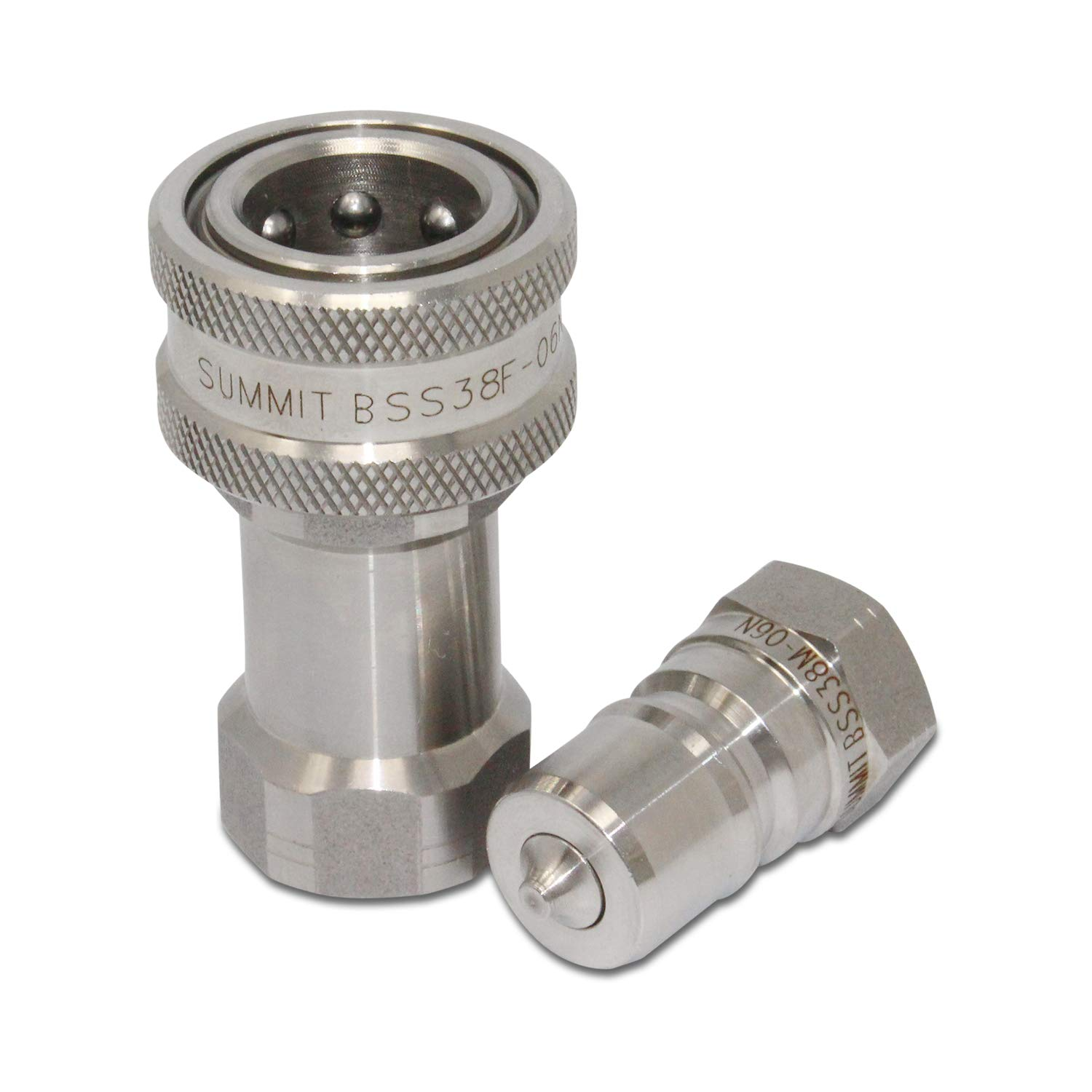 3/8'' NPT ISO 7241-B Stainless Steel Quick Disconnect Hydraulic Coupler Set