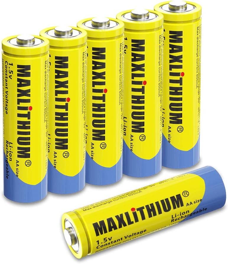 Amazon Com Rechargeable Lithium Ion Aa Batteries 1 5v Constant Voltage 2 5wh 6 Count Without Charger Maxlithium Home Audio Theater