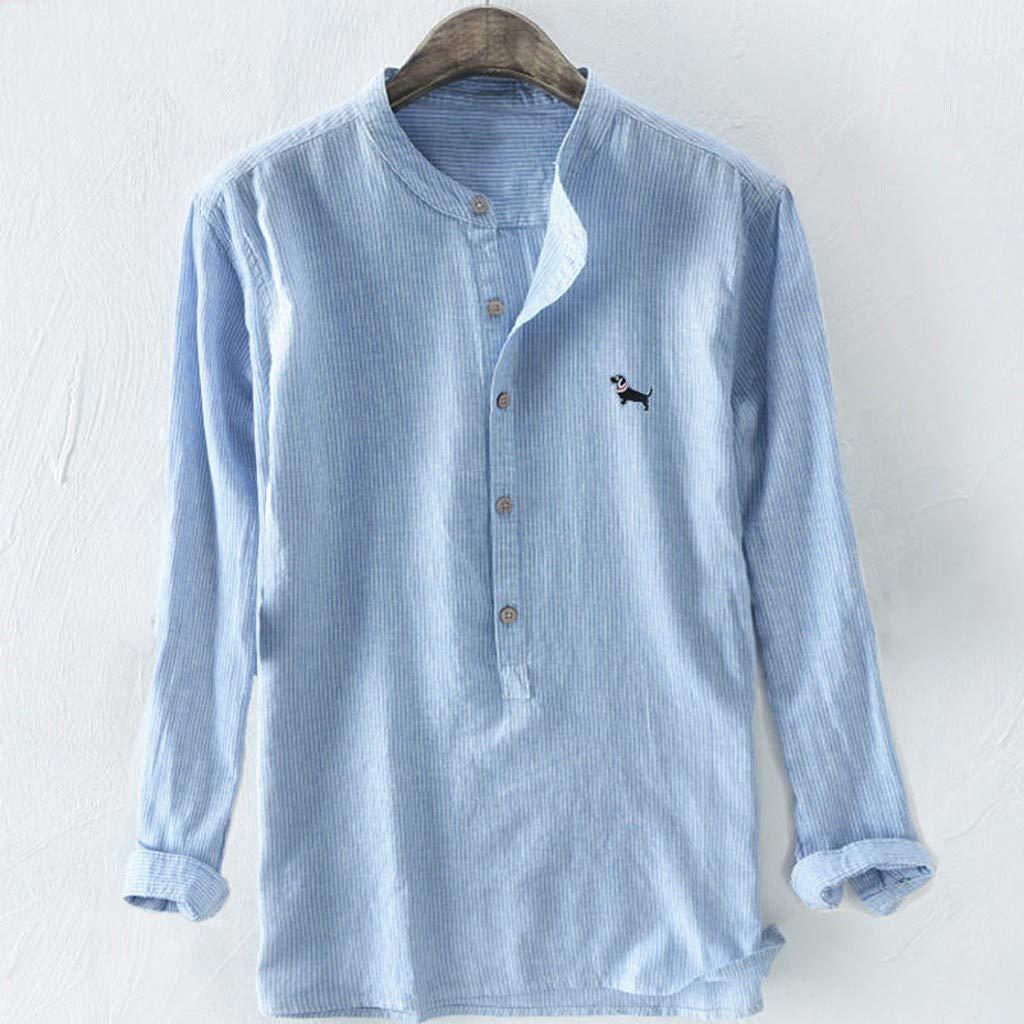 Palalibin Mens Baggy Shirt Stripe Embroidery Cotton Linen Long Sleeve Button Plus Size T-Shirts
