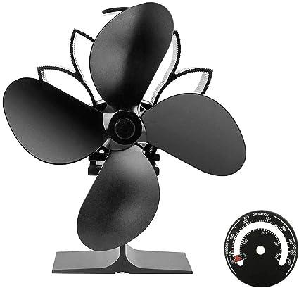 TYQIAO Chimenea Ventilador, silencioso Funcionamiento Eco Amable y eficiente 4 Cuchillas con termómetro Estufa de Madera/Log Burner/Chimenea ecológico y distribución de Calor eficiente: Amazon.es: Hogar