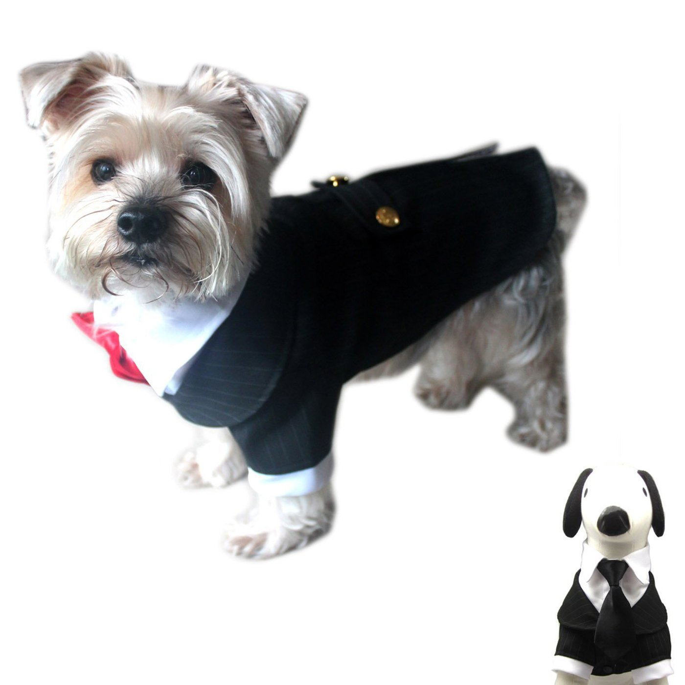 Alfie Pet - Oscar Formal Tuxedo with Black Tie and Red Bow Tie