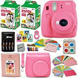 Fujifilm Instax Mini 9 Instant Camera PINK + Fuji INSTAX Film (40 Sheets) + Accessories Kit / Bundle + Custom Case + 4 AA Rechargeable Batteries & Charger + Assorted Frames + Photo Album + MORE