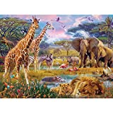 Bits and Pieces - 300 Piece Jigsaw Puzzle for Adults - Savannah Animals - 300 pc Jungle Scene Jigsaw by Artist Jan Patrik