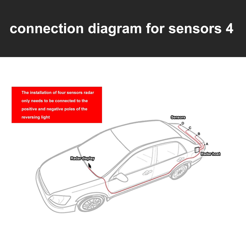 Sensores de aparcamiento,OSAN LED Kits de Detector de Radar Marcha y Atras con 8 Sensores Gris