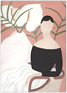 Abstract Canvas Prints Painting Girl plant Fashion Wall Art Vintage Posters Figure Nordic Pictures Living Room Decor (60x80cm) Frameless