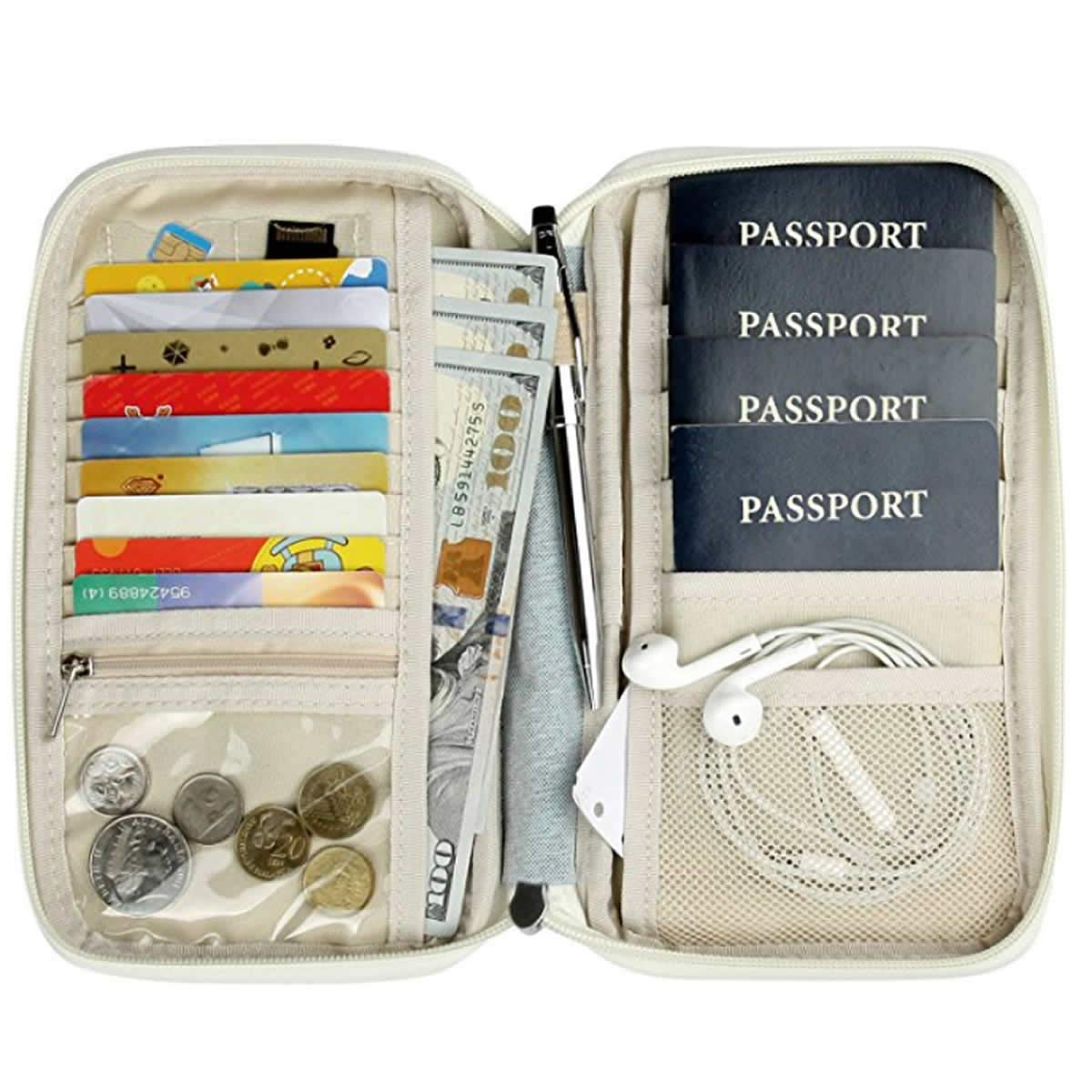 Family Passport Holder w/RFID Blocking - Travel Wallet - Cruise Essentials - Cruise Ship Accessories (4 Pocket)