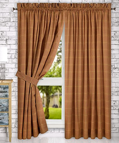 Ellis Curtain Morrison Multi Colored Plaid 100-Percent Cotton (Tailored Panels with Tiebacks, 90×84″, Rust)