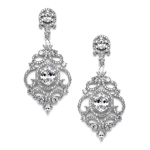 Mariell Victorian Scrolls Cubic Zirconia Wedding Bridal & Prom Chandelier Pierced or Clip-On Earrings