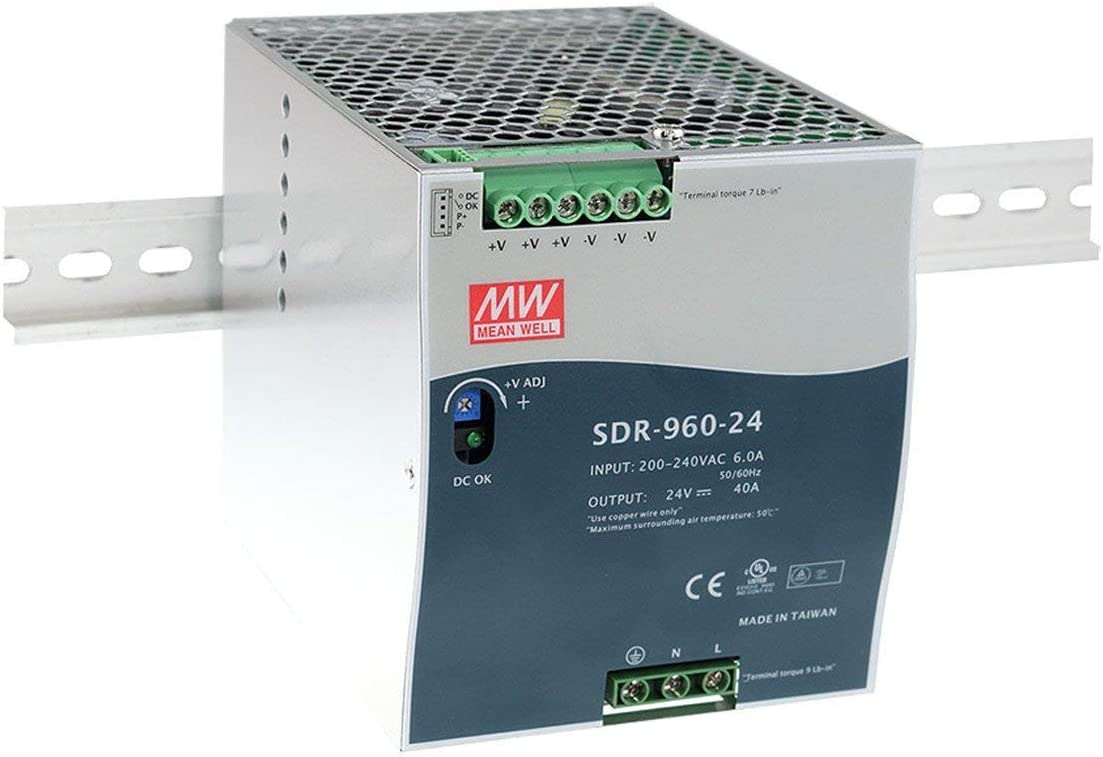 MW Mean Well SDR-960-24 24V 40A 960W Single Output Industrial DIN RAIL with PFC Function Power Supply