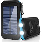 Ayyie Solar Charger,10000mAh Solar Power Bank Portable External Backup Battery Pack Dual USB Solar Phone Charger with 2LED Light Carabiner and Compass for Your Smartphones and More (Blue)