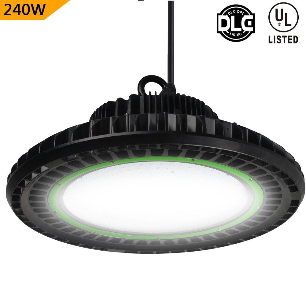 Dephen 240W High Bay LED Lighting, 32400 Lumens(900W HID/HPS Eq.), Dimmable(Optional), Led Shop Lighting, Mounting Bracket, 5000K UFO High Bay Lights Fixutre, LED Warehouse Lighting(DLC&UL-Listed)