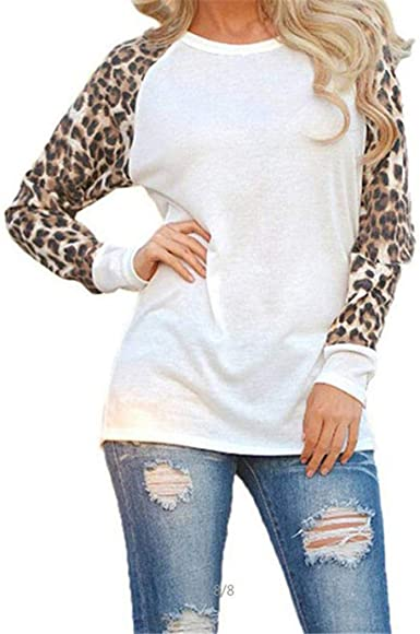 Redpol Women Casual O-Neck Long Sleeve Patchwork Pullover Loose T-Shirt Top Knits /& Tees
