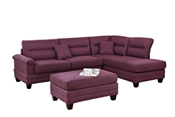 Fantastic Amazon Com Bobkona F6587 Sectional Sofa Set Purple Kitchen Ibusinesslaw Wood Chair Design Ideas Ibusinesslaworg