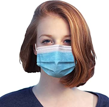 Disposable 3-Ply Face Mask 50 PCS Made with Polypropylene and Elastic Ear Loops